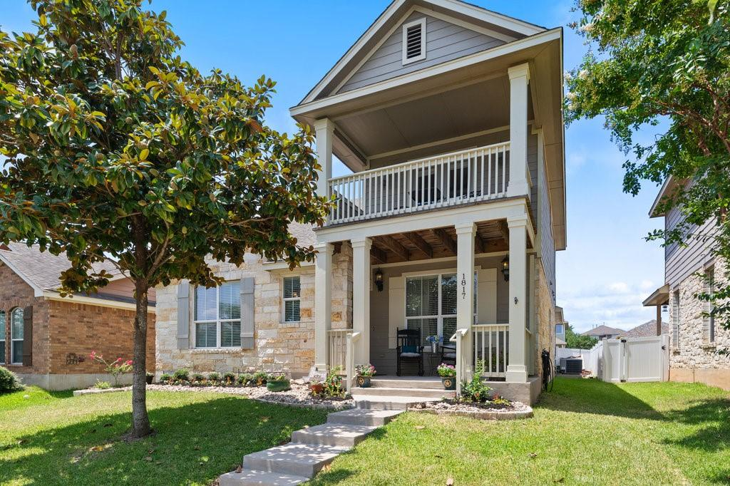 Beautiful, two-story home in the sought-after neighborhood of Cedar Park Town Center. Great curb appeal with a welcoming front porch, balcony, and well-manicured landscaping. Freshly painted interior and exterior. The main living area features newly installed wood laminate flooring, high ceilings, and a view of the upstairs loft. The large, eat-in kitchen is filled with natural light and calls attention to the open layout with granite counters, and center island. The main level owner's suite features a separate tub & shower, dual vanities, and a large walk-in closet. The second level offers additional living space, ideal for a playroom, office, or game room plus spacious secondary bedrooms. Outdoors, a covered patio overlooks a fully fenced yard with an additional entertaining area. This home has it all!