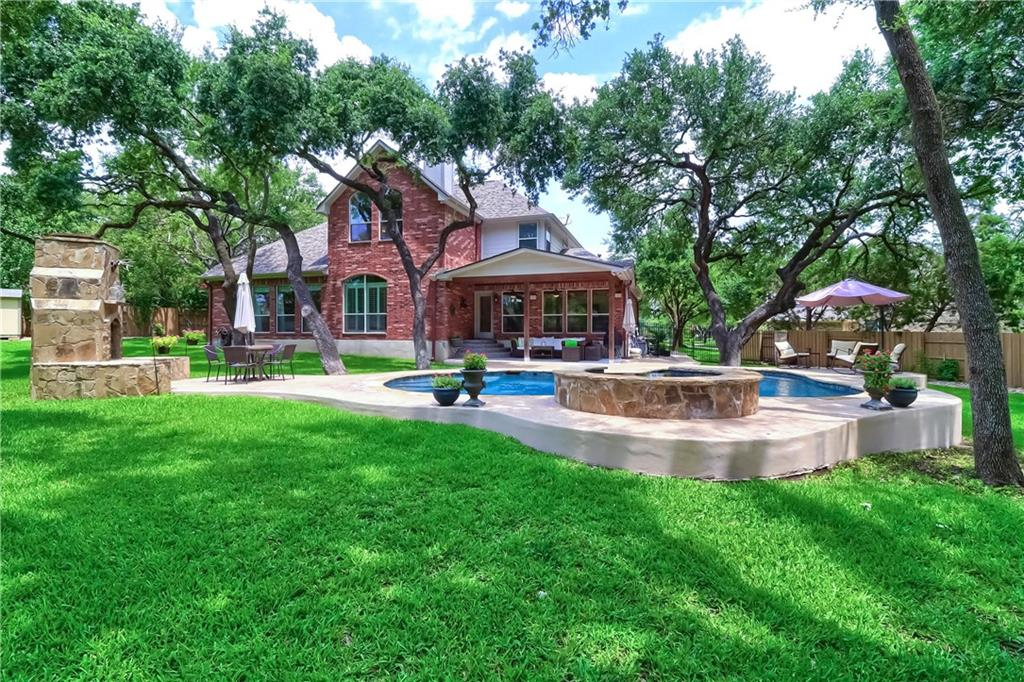 COVETED POOL HOME WITH EXCEPTIONAL UPDATES ON A CUL-DE-SAC AND LARGE .47 ACRE LOT IN MASTER-PLANNED BEHRENS RANCH COMMUNITY!  You will be impressed and fall in love with this home.  The open floor plan includes 5 bedrooms + a study and 4 full bathrooms:  primary suite is on the first floor and so is bedroom 2 and a full bathroom.  All bathrooms have been renovated and are beautiful.  The custom kitchen has marble and composite counters, soft-close cabinets and drawers, a substantial island, a large arched breakfast bar, a copper farm-style sink, professional stainless appliance package including a commercial gas range, a pot filler, built-in espresso bar and more...Adjacent to the chef's kitchen is a breakfast nook, sunroom with lots of windows and the pantry/laundry room through the barn doors.  Spacious family room, formal dining room and large study finish off the first floor.  Upstairs, you'll find the game room, 3 bedrooms, 2 full bathrooms (one Jack and Jill) and a Texas basement.  There's plenty of room for living and entertaining in this home and there's a 3-car garage.  Let's go outside next...to the BACKYARD OASIS with nearly half an acre to play and swim and relax.  You'll appreciate the live oaks, heated salt water pool, hot tub, waterfall, salt finish decking around the pool, custom wood burning chimenea, covered back patio, serenity now.  New roof 2020, new custom board on board cedar fencing 2019, replaced 20 double-paned glass panels 2021, recent paint throughout 2021, water heater 2020 and complete Trane XR HVAC System with Wi-fi Thermostats 2020.  This wonderful home is in a desirable neighborhood with highly-rated schools just a walk or bike ride away:  Cactus Ranch Elementary and Walsh Ranch Middle.  Excellent Round Rock location with nearby shopping, restaurants, sports facilities and entertainment.  Yes, this home and location is exceptional.