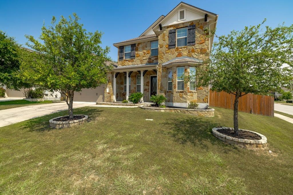 Beautiful Standard Pacific Brentwood Plan on a large corner lot with an open layout, high ceilings, and lots of natural light.  This plan has it all...4 bedrooms, 3 full baths, french door office at the entry, a loft style oversized game room, and an open kitchen-breakfast nook-living room layout.  The chef of the family will love the kitchen featuring: abundant cabinet space, lots of recessed lighting with pendant light accents, large center island with breakfast bar, built-in stainless steel double ovens & microwave, updated 5 burner gas cook top, thick granite countertops, a bay window breakfast nook, and a large walk-in pantry just off of the pass through butlers pantry.  The living room just off of the kitchen is perfect for entertaining to either watch the game, or enjoy a family movie night by the fire on those occasional cold Texas evenings. If outside entertaining is desired, the back covered patio is stubbed and ready for that natural gas grill, and the large wrap around yard is awaiting the kids' playscape, the family yard games, favorite garden vegetation, and of course…the epic in ground pool you've always wanted.  The 2.5 car garage provides ample space for extra storage, or that workshop/maker space that is always needed.  Owners can retreat to their bay window bedroom suite with a gorgeous private bathroom featuring: a large walk-in closet and separate linen closet, separate garden tub and oversized walk-in shower, dual square sink vanities, all trimmed with oil rubbed bronze fixtures.  Kids will attend sought after Round Rock schools. The whole family will enjoy hike and bike trails, community parks & pools, year round community social events, and nearby Brushy Creek parks & trails.  Shopping and dining is conveniently located in almost every direction when leaving the community, or just head to the main entrance for some great Italian food and dessert.