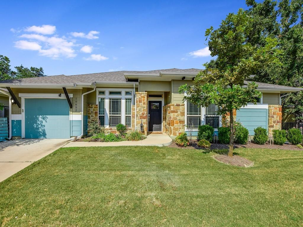 Beautiful Austin condo in gated community with attached garage, fully fenced back yard and covered rear patio. This single story home spans 1362 sq/ft and features 12' ceilings, 2 bdrms and 2 baths and stainless steel appliances in the open kitchen. Energy efficient with full spray foam insulation and high efficiency tankless water heater. The community pool, amenity center and landscaping all maintained by HOA. Must see! MetroRail within walking distance! Convenient to 183A, HEB Plus, Lakeline Mall and plenty of shopping and dining options. Zoned for Round Rock ISD.
