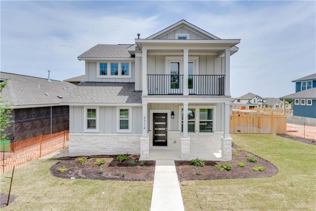 """*Buyer to verify property taxes* Beautiful Century Communities home built in 2021 and never lived in. Bandera floor plan with a charming Craftsman-style front porch. The open floor plan features vinyl plank flooring, recessed lighting, and an abundance of natural light. Perfect for entertaining friends and family, the kitchen offers quartz counter tops, 42"""" espresso color cabinets, and a center island overlooking the living room. Formal dining room and powder bath located just off the entryway with extra storage space underneath the stairs. Primary suite on the main floor features a large walk-in closet, walk-in shower, and double vanity. All three secondary bedrooms upstairs have walk-in closets and share access to a full bathroom. Flex space upstairs makes for the perfect game or media room and you can step out onto the balcony to enjoy your coffee in the morning. Great backyard with large covered patio for outdoor living. A two-bay detached garage with alleyway access sits directly behind the house. Excellent location in close proximity to 183 for an easy commute. Less than 10 minutes from Leander's highly anticipated Northline development."""