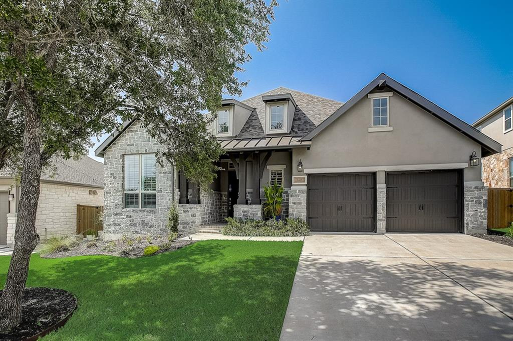 Built in 2018, this Leander one-story home offers a patio, granite countertops, and a three-car garage.