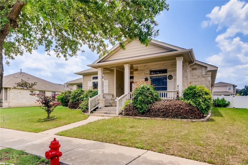 Charming 3bd/2ba home with excellent layout and great features in quiet, Cedar Park neighborhood. With a beautiful front exterior, pass by the tranquil front porch and enter through the front door, where you're transported to a homey, tiled foyer with a formal sitting area to your right. Heading down the main hallway, you're ushered into the open-concept layout, with the kitchen serving as your first stop. With beautiful wood grain cabinetry, walk-in pantry, black appliances and an island with a window pass through, this kitchen will scratch any culinary itch, and it flows seamlessly onward to the main living area, complete with high vaulted ceilings, plush carpeting, a corner dry bar area and abundant natural light. A dining area sits to the side of the space, with a beautiful post-modern lighting fixture for mealtime ambiance. For a restful night's sleep, these bedrooms will certainly provide — the primary bedroom is carpeted and cozy with vaulted ceilings, and includes a great ensuite bathroom, complete with a standing corner shower, detached soaking tub and dual sink vanity. The walk-in closet has built-in shelving, perfect for keeping yourself organized. The remaining bedrooms are excellent for hosting guests or repurposing as a fitness area, home office or creative space, and share a full hallway bathroom with tiled, standing shower and large vanity. Heading outside, you'll find a quaint patio that connects to the backyard with a small picket fence; it's the ideal spot to relax and enjoy the great Texas weather. Other features: laundry room with cabinet storage, driveway, two car garage. Nearby: Lake Travis, Austin Aquarium, Williamson County Parks, local shopping and dining off Whitestone Blvd., easy access to TX-183 and MoPac Expressway, short commute to downtown Austin. Buyer to verify all information.