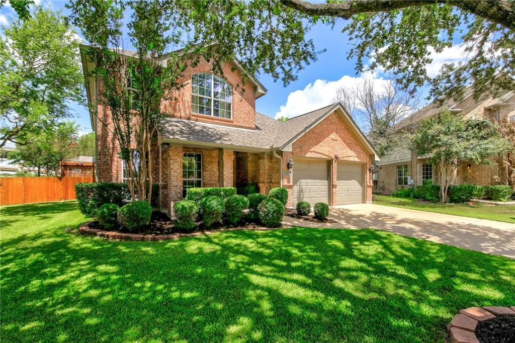This incredible two-story home is a part of the Falcon Pointe community that won't last long. This home is located in a Cul-de-sac with direct access to state highways 130 and 45. Additionally, it is located within a five-minute drive of the Stone Hill Retail Center and H-E-B, Costco, and school facilities. It features four bedrooms, 2.5 baths, and walk-in partially finished attic accessible from the second floor. This open floor plan floor features a formal dining room, a large first-floor master bedroom, a wood-burning fireplace, and a new kitchen and bathroom cabinets with granite and marble countertops. The kitchen, master bath, half bathrooms, and laundry room feature tile flooring, while hardwood covers the remainder of the downstairs living and eating spaces. Upstairs features a large game room, three bedrooms with walk-in closets, and a full bathroom. When you're tired of being inside, you can move outside and hang out or listen to music on the custom-made cedar deck. The custom-made deck features a complete pergola that runs the width of the house. The outdoor entertainment accessories built into the custom deck include strategically located electrical outlets, pre-wiring for surround sound under the covered porch and throughout the pergola. It is also pre-plumbed for water and features a television mount with direct access to the interior electronics closet. The homeowners replaced the roof/gutters (3/2021), water heater (7/2019), AC (7/2018), Kitchen cabinets/backsplash/granite countertops (4/2021). All warranties are current and transferable to future residents.