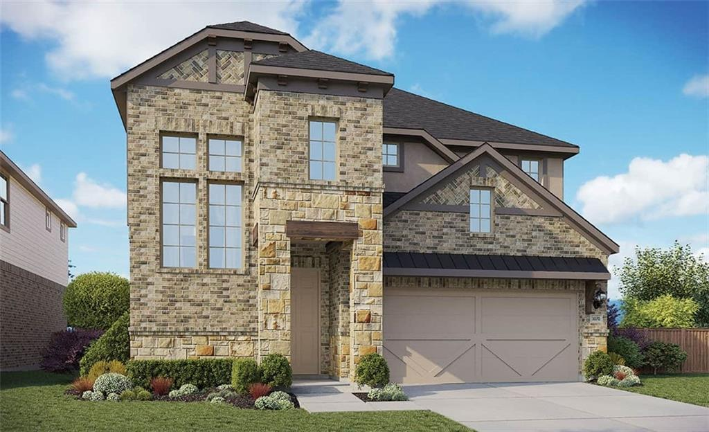 Two Story Tahiti Floorplan featuring: buffet, mudroom lockers, oversized master shower with seat, wrought iron railing, vinyl flooring throughout, game room, family room, media room, covered patio, kitchen island. Available December.