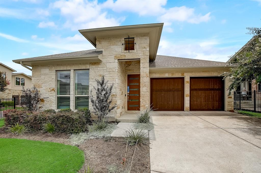 Built in 2016, this Austin one-story home offers quartz countertops, and a two-car garage.