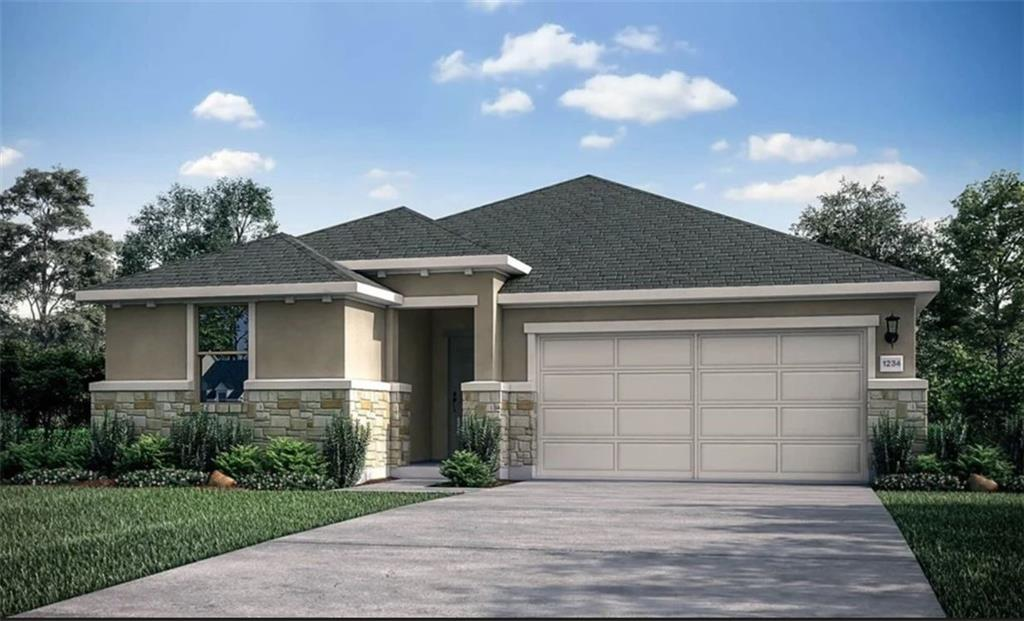 Blanco B by Taylor Morrison ~ Ready April 2022!  The Blanco floor plan speaks volumes with a fine balance of luxury and livability. Comfy yet sophisticated at the same time.   The 1,699-square-foot home encompasses three bedrooms, two baths, a gourmet kitchen open to the great room and dining room, a utility room and an extended covered patio in backyard.  Consider the heart of the home. The open layout offers a spacious area for cooking, dining and simply putting your feet up for a pleasant evening. But it's equally functional as an attractive spot for entertaining guests.  From the kitchen you have views to the family room, where people gather, as well as the dining room. With its expanses of countertops, walk-in pantry and lustrous appliances, this is a great kitchen you'll love to be in. A combination-working island and breakfast bar can double as a party buffet area and a place to enjoy a casual dining. Formal meals can be served in the nearby dining room, which features a window with views to the backyard and covered patio.  Your owner's suite gives you a special retreat to call your own. You'll fall in love with the roomy owner's bath. Dual vanities make having two in the bathroom easy and comfortable. Taking a shower is a pleasure in the shower. The commode is tucked into a privacy closet. Entry to the cavernous walk-in closet is from the owner's bath.  The secondary bedrooms are located near the home's entrance and includes a sizable closets and close proximity to a full bath and a coat closet.  Structural options added to 145 Andesite Trail include: extended covered patio and pre-plumb for future water softener.   REPRESENTATIVE PHOTOS ADDED.