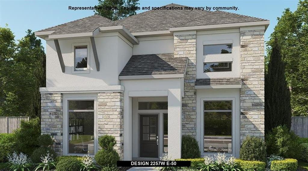 Perry Homes New Construction! Welcoming entry framed by Home office with French door. Generous open family room with a wall of windows. Kitchen features an island with built-in seating space and a walk-in pantry. Open concept dining area. Second floor primary suite features a large bedroom, dual vanities, large glass enclosed shower and a walk-in closet in the primary bath. Secondary bedrooms with walk-in closets and a full bathroom with a dual vanity complete this two-story home. Covered backyard patio. Two-car garage.