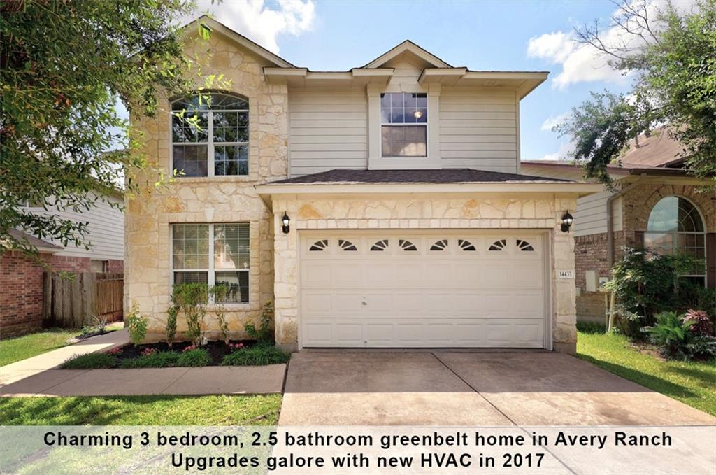 Beautifully upgraded 3BD/2.5BA, northeast facing home located on a premium greenbelt lot in Avery Ranch. Located just 20 minutes from downtown Austin and less than 5 minutes from the nearest shopping and dining destination. Close to the future Apple Campus and the Dell Children's Hospital. Minutes from the Lakeline Metro Rail Station, Brushy Creek hike and bike trail, playgrounds and splash parks. In the highly-rated Leander school district.   Professional landscaping with white stone exterior add to the pleasant curb appeal of this home. This home offers an abundance of living, dining, and open-concept space throughout the downstairs. You'll love entertaining in your huge formal dining room off dramatic foyer with soaring ceiling. The open living and dining spaces are perfect for easy entertainment. Numerous upgrades include new HVAC (2017), upgraded flooring and new carpet, designer light fixtures, fresh interior and exterior paint (Summer 2021). Fully remodeled kitchen with new quartz countertops, mosaic glass backsplash, chic white cabinets, stainless steel sink, Delta faucet and Samsung dishwasher. The kitchen open to family room with a lovely view to the back patio.  Ample windows provide natural light throughout the home. The cozy fireplace takes the center stage in the family room.  Upstairs game room is perfect for a play area. Retreat to the large primary bedroom featuring a walk-in closet space, primary bath with modern fixtures, matching white cabinets, walk-in shower, oversized soak tub and double vanity. Two secondary bedrooms are wonderful, flexible spaces with ample natural light and can be customized to suit your needs.  Outside, host and relax in style on a covered patio, perfect for summer cookouts. Enjoy the peaceful greenbelt from your covered patio. The oversized back yard has room for a pool or any yard improvement projects! This upgraded, low maintenance home is the perfect setting for you to live, work and play! Mask is required.