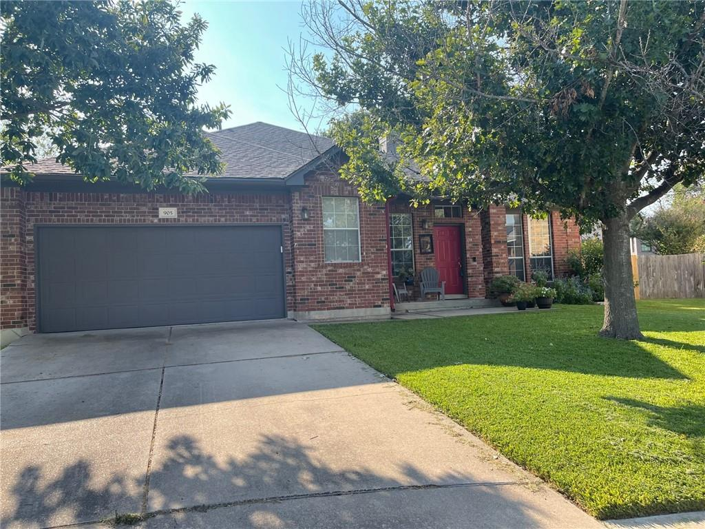 """Motivated Seller - bring all offers.  Come see this beautiful 4 bedroom, 2 bathroom, single story house on a quiet cul-de-sac lot with a huge oak shaded backyard for your family time.  The living areas have 10' ceilings and beautiful stained concrete floors that require little maintenance. The open-concept kitchen opens up to the family room and has quality, 42"""" oak cabinetry, new stainless steel appliances (all of which convey), and a sizable pantry.  The primary bedroom offers a private en suite bathroom complete with dual sinks, a garden tub with separate shower, and a large closet with 10' ceilings. One of the four bedrooms currently serves as a flex office/bedroom with a built-in Murphy Bed/desk combination that conveys with the house.  The primary bedroom looks out to the oak tree shaded back yard which has a recently installed cedar fence.  The backyard has a covered patio, a fire pit and an open area where a playscape could be installed for younger kids.  Centrally located close to I-35, 130 and 45 and within a 5 minute walk to the city park with basketball courts, soccer fields, extensive hiking trails, and the Gilleland Creek pool.  New roof and cedar fence were installed in the last 2 months."""