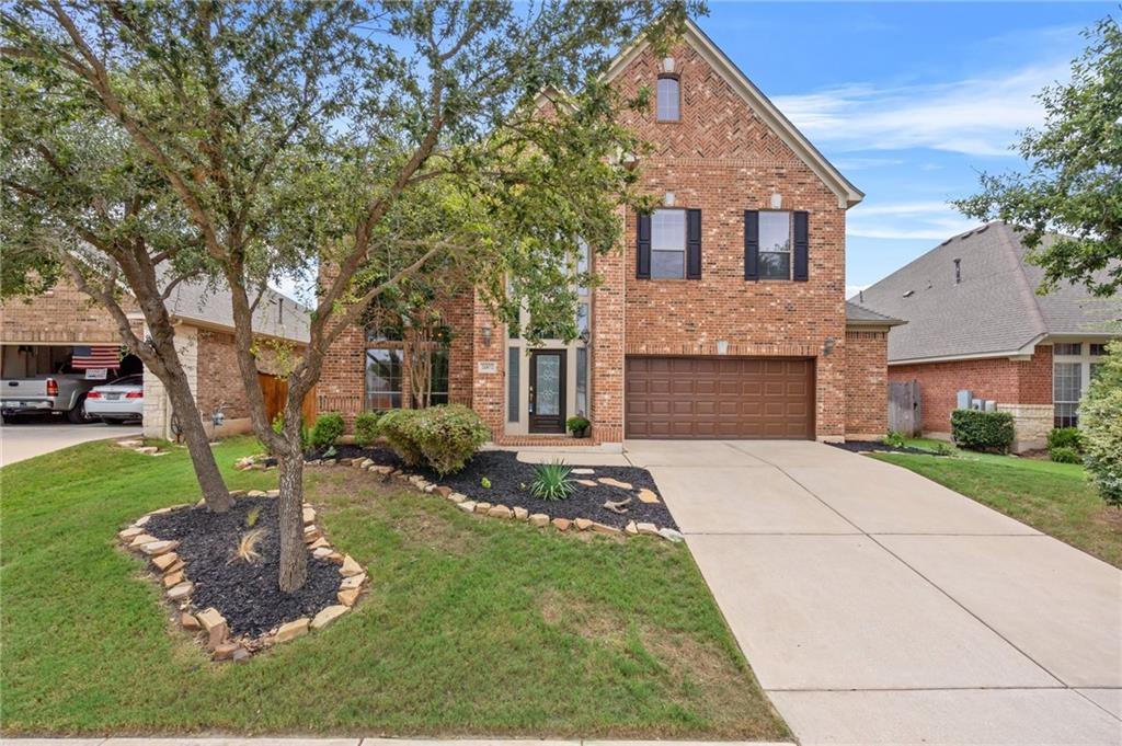 This is the best home in Leander with a pool. Well-appointed home in the sought after community of Crystal Falls located just 25 miles from downtown Austin. Situated on a large, interior lot with majestic brick façade and nicely landscaped exterior. Open floorplan with soaring two-story ceilings and an abundance of natural lighting. Great kitchen with stainless steel appliances, quartz countertops and mosaic tile backsplash to the ceiling. Large island with a wraparound breakfast bar overlooking the expansive living area with corner fireplace and a wall of windows. Gleaming hardwood flooring downstairs. Spacious primary suite on main level with step ceiling, dual vanities, soaking tub, walk-in shower and custom walk-in closet. 3 roomy secondary bedrooms, game room and flex room upstairs. Incredible backyard with gorgeous covered patio looking out to the sparkling, in-ground pool and extended decking with freestanding pavilion, ideal for entertaining guests or enjoying your own private oasis. Located in the highly coveted Leander ISD.