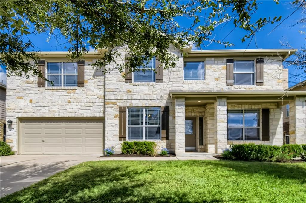 Marvelous home in Round Rock's Teravista neighborhood which includes a golf course, 3 community pools, fitness centers, dog wash station, sports courts including tennis, basketball volleyball and dozens of parks & trails and a catch and release fishing pond. This home has been beautifully maintained with recent HVAC, luxury vinyl plank flooring, new carpet, interior paint and new fixtures. Great backyard that backs to a greenbelt. This 5-bedroom and 3 full-bath home also has ample living areas including open living and kitchen floorplan, high ceilings, a study/office, a media room and an upstairs living area. Entertain in the formal dining or hang out around the kitchen island and start your mornings at the breakfast nook.  Great location near shopping, universities, hospital and highway.