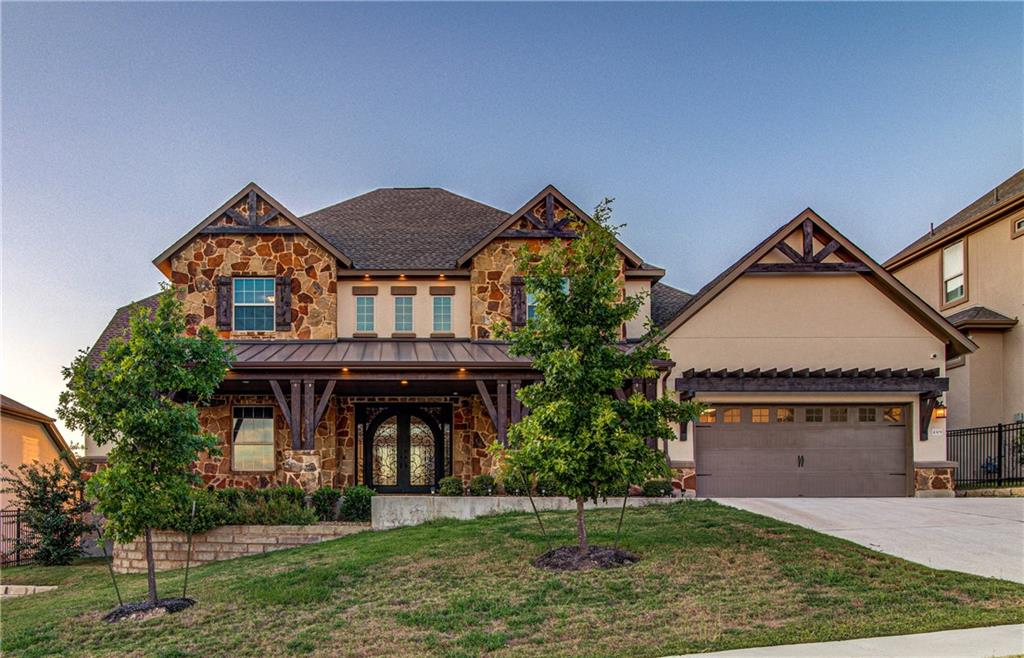 Contemporary, estate style, beautifully appointed Merida floor plan of the Florence Collection built by Toll Bros and nestled in an enclave of luxury homes in the coveted neighborhood of Travisso redefines luxury hill country living with its grand entrance and the dramatic imperial double curved staircase, fine finishes, custom cabinetry and expansive chef's kitchen.  Backing to a green-belt, this open floor plan with its high ceilings and large windows fills the house with abundant natural light and vistas of breath-taking views from many rooms. The large owner's retreat facing the backyard with hill country views has a luxurious en-suite bathroom with oversized his & her walk-in closet, a jetted tub, double vanities and a walk-in shower. The house features a private office/study, formal dining room and mother-in-law suite on the main level and a media room and a huge game room to chill along with two additional bedrooms with bathrooms upstairs.  The outdoor kitchen in the double ceiling cabana and a covered balcony make this an entertainer's delight.  The gourmet kitchen features a commercial grade gas-stove, a huge center island to gather around and lots of counter and cabinet space for the chef in you.  Come home to your own personal oasis, just a short walk away from the award-winning community center aptly named the Palazzo that offers a pool, splash pad, an outdoor patio, a well-appointed fitness center, tennis courts, playscape and a soccer field to name just a few amenities. Come Live the 'Visso Life!!