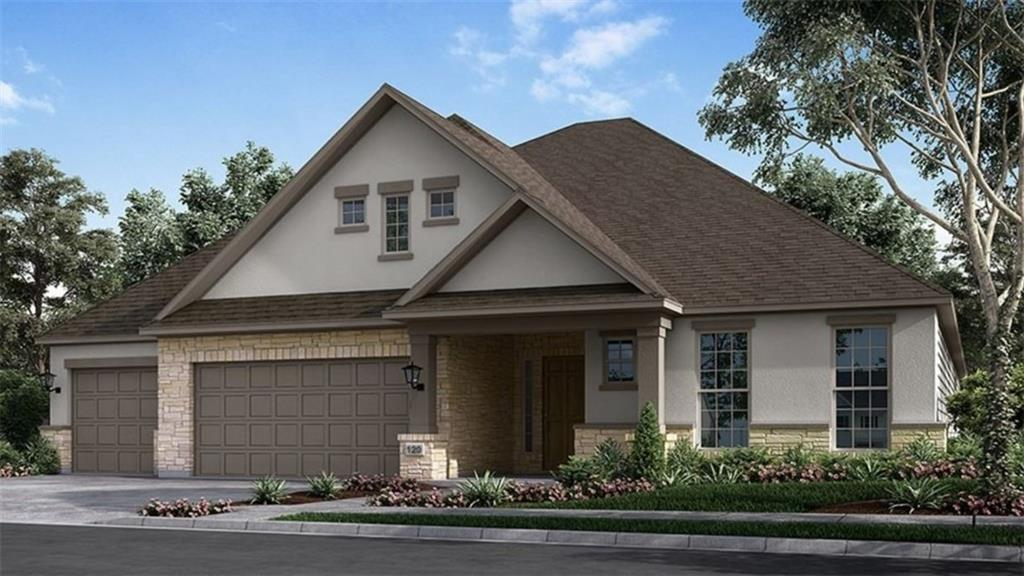 Ready Spring 2022! The Samira floor plan offers three bedrooms, ample square footage and options galore. And on top of all that, this incredible new house floor plan has the kind of elegance and detailing that's sure to bring your Austin new homes search to an ending.  Enter and step into the graceful foyer, a beautiful introduction to your new home. As you walk forward you find yourself in what just may be the most stunning family rooms you've ever been in. By day, the room is filled with light coming in through tall windows with a view out to the covered patio. Give the patio an outdoor kitchen and you have the key to excellent al fresco cooking and dining.  Opening to the family room is an equally gorgeous designer kitchen. You have lots of attractive cabinetry, quality GE appliances, a walk-in pantry and access to the utility room and garage. Near the kitchen is a casual dining room where you can serve meals with family and friends. Your sumptuous owner's suite is your peaceful hideaway. Your owner's bath includes a luxurious garden tub, a separate glass encased shower with seat, two individual sink vanities, a private commode and a linen closet. Through the bathroom you enter your wonderful walk-in closet. The remaining two bedrooms share a bathroom.  Structural options added to 921 Trevi Fontana Drive include: Gourmet kitchen, mud-set shower and garden tub in owner's bath, mud-set shower at bath 3, Bed 4 and bath 3, 15x8 sliding glass door at gathering room to patio, 8' doors, additional windows at study.