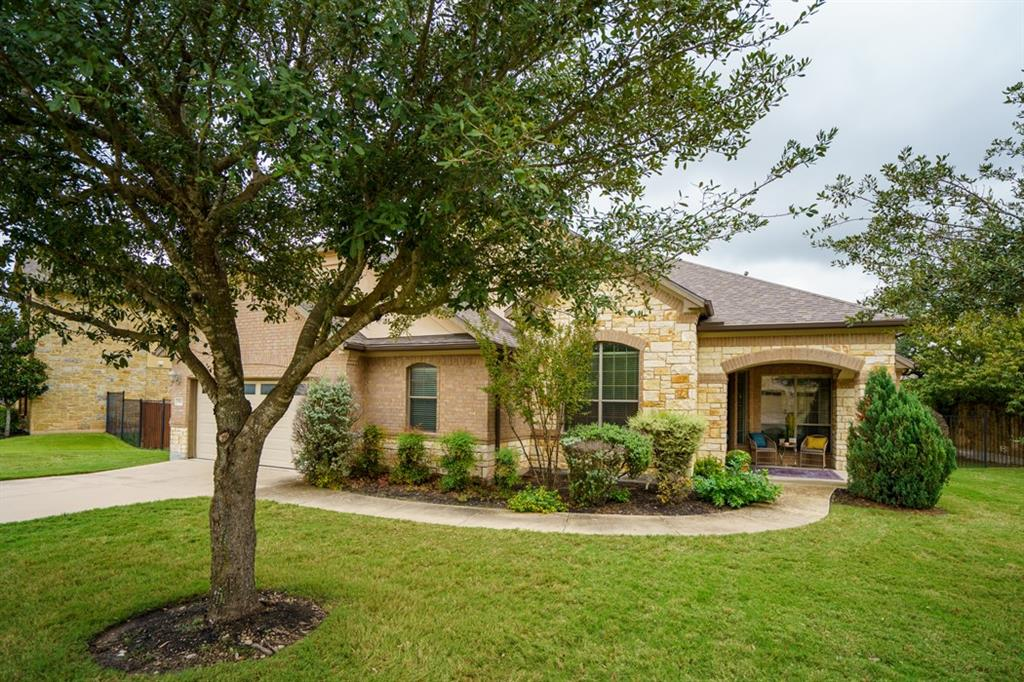 """The Estates at the Ranch At Brushy Creek is a Gated Community of Estate Homes that rarely become available.  This executive home offers an open concept plan with four bedrooms and three bathrooms. The kitchen has 42"""" custom cabinets, double ovens, stainless steel appliances, large island and under cabinet lighting.  Bonus living off the kitchen. Covered front and back porches overlooking an estate size yard. Oversized garage (fits 3 cars).  New Roof 08/2021, New AC Unit, New Dishwasher 11/2020, New interior paint October 2021.  Updates Allowance Negotiable!"""