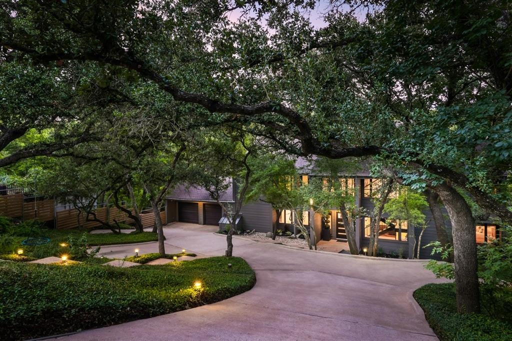 DEADLINE FOR OFFERS IS MONDAY SEPT 27, 2021 AT NOON: Tucked beneath beautiful oaks on a large half acre lot, privacy abounds at this gorgeous property designed by Shiflet Group Architects. Upon entering this warm and inviting home, the tree top views create a sense of peace and tranquility. With thoughtful modern updates, the 4 bedroom, 4 bathroom residence offers abundant natural light throughout, high ceilings, beautiful hardwood floors, an open kitchen/dining/living concept, and walls of windows overlooking the lush backyard. With stylish indoor/outdoor living spaces that feature an expansive outdoor patio, this home is built for entertaining. Three of the bedrooms reside upstairs with a gorgeous bathroom in the primary suite, while a guest bedroom sits on the main level and a flex room that can be used as an office or playroom on the third level. The property backs up to a 10+ acre greenbelt with great opportunities to hike and explore. This home is a true hidden oasis just 15 minutes away from downtown Austin.
