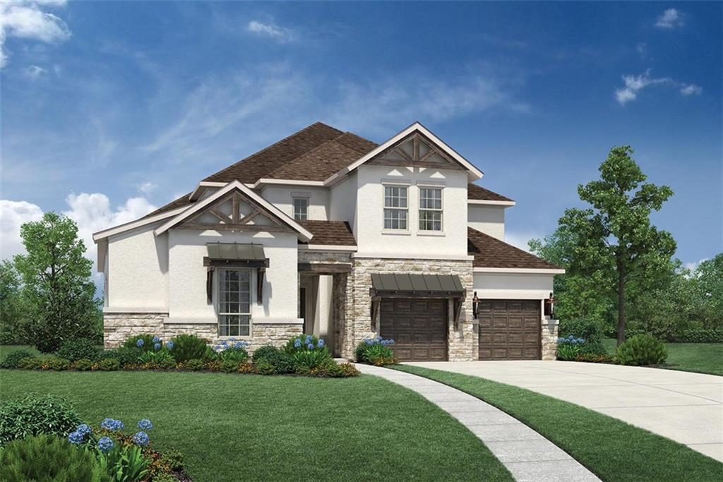 MLS# 4608977 - Built by Toll Brothers, Inc. - May completion! ~ Nestled in the heart of Hill Country, the Longview Hill Country home offers the warmth of country with the convenience of downtown Austin near by.  The stunning curb appeal with stucco, stone and wood accents will be a pleasure to come home to.  Upon entering, an impressive curved staircase and two-story foyer greets friends and family.  A double-door entry leads to a private office.  Guests will enjoy the first-floor guest suite with full bath and walk-in closet.  The great room boasts 20-foot ceilings, a corner fireplace, and multi-slide glass door that opens to the covered porch.  The well-appointed kitchen includes upgraded Whirlpool stainless appliances, casual dining space and large island overlooking the great room.  Find respite in the primary suite featuring a dramatic sloped ceiling with en-suite that includes dual vanities, soaking tub, shower with seat and generous walk-in closet.  Upstairs, the luxury continues with two spacious bedrooms with shared bath, a large flex/game room and private media room.