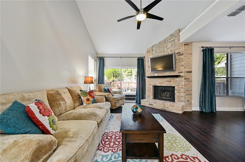 Beautiful, thoughtfully renovated home in excellent NW Austin location with easy access to Mopac. Featuring an ideal two level floorplan with engineered hardwood floors throughout. The main level includes a large living area with an abundance of natural light flowing through to the dinning space and kitchen. The kitchen contains granite countertops and breakfast bar as well as recently replaced disposal and faucet. Large back deck was installed in 2021 and is perfect for entertaining and enjoying the back yard.  The second level includes an office nook that was built out recently and is extremely functional and purposeful and two great sized bedrooms. The primary bedroom is  spacious and the primary bathroom has dual vanities and tub/shower with tile floor. New front door with keyless lock and a two car garage complete with shelving for all of your storage needs and where the washer / dryer connections also are contained.  In addition to the cosmetic updates to the property, the HVAC was replaced in 2016 and in 2020 there was ductwork done to help with airflow, including a vent being added in the primary bedroom. The location is unbeatable and just a 15 minute drive to downtown and less than 10 minutes to the Domain area for shopping, dining and entertainment as well as the Austin FC stadium!