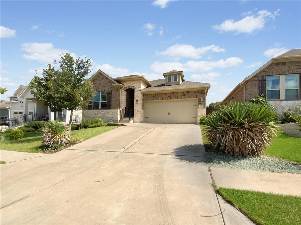Built in 2015, this Leander one-story home offers a patio, granite countertops, and a two-car garage.