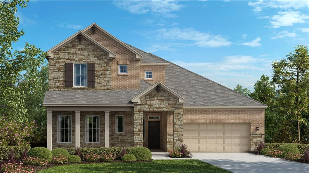 """The Gruene floor plan is a two story home with approximately 2,926 sf of living space. 4 bedrooms (2 up, 2 down), 3 full bathrooms, home office, game room, media room, large covered patio, and a 2 bay garage. This home-site is approximately 7,200 sf and faces NW. The spacious kitchen features built in stainless steel appliances, quartz counter tops, 42"""" upper cabinets and more. The flooring is hard surface throughout the main areas, tile in the bathrooms, and carpet in the bedrooms. The quality construction includes; 10' ceilings and 8' doors throughout the bottom floor, 3 sides masonry, Zip System sheathing, and so much more."""
