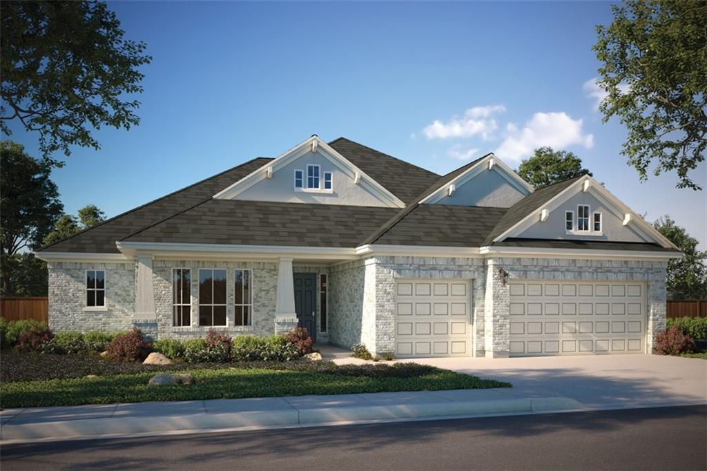 """Impressive 14' cathedral ceilings in living room. Oversized front porch and extended covered patio in the rear.  Kitchen features double SS ovens, 36"""" cooktop with 5 burners, 63"""" Groveland extra white Cabinets, and a beautiful island overlooking the living area. Gorgeous over-sized luxury shower in the master and beautiful engineered wood floors throughout the entry, living, kitchen, and dining room. Gated boutique community, luxury pool, clubhouse & playscape."""