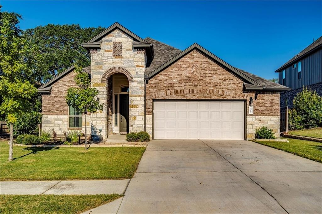 Stunning 2196 Sq Ft One Story Features 4 Bedrooms, 3 Full Baths, 1 Living & 1 Dining. Kitchen With Granite Countertops, Breakfast Bar, Stainless Appliances, Double Ovens & Gas Cooktop. Wide Open Design With Beautiful Wood Like Tile Floors In Entry, Kitchen & Living. Spacious Primary Suite & Bath Includes An Upgraded Spa Package With Double Vanity, Garden Tub, Separate Shower & Nice Walk In Closet. Step Outside & Enjoy The Large Deck/Patio For Great Family & Friend Get Togethers. This Home Has A Vacant Lot With Ancient Oaks To The Left Of It That Will Not Be Built On!! Nice Green Space Between Homes In The Back. Larkspur Is An Amenity Rich Community Which Includes A Pool, Splash Pad, Fitness Center, Covered Playscape, Plus Hike & Bike Trails. Close To Schools & Toll Roads.