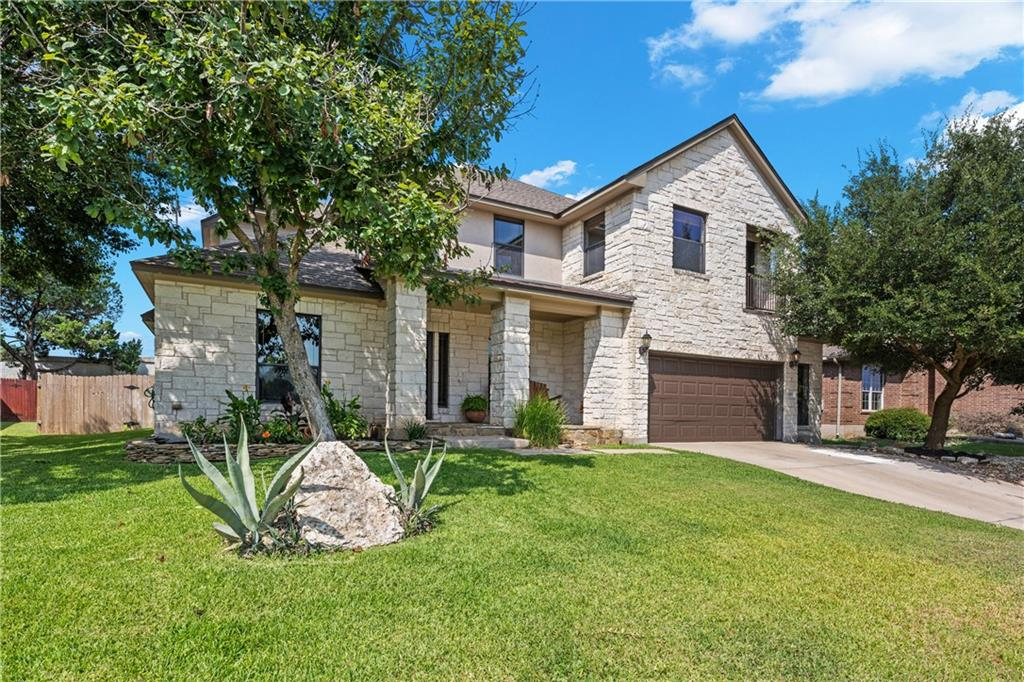 Great custom-built home right in the heart of Cedar Park! Very desirable neighborhood with mature trees, near dining, entertainment, easy access to major highways, and is within walking distance of incredible award-winning Leander ISD schools. This beautiful home has some of the nicest finishes of any in the neighborhood. Inviting front porch and large stone-covered back patio with built-in gas BBQ grille, leaving plenty of room to add a pool in the yard. Built personally by the builder, for the builder! Some of the upgrades include an automatic sprinkler system, tankless water heaters, and surround sound ready throughout the entire house & patios. The master bedroom and bathroom are large, comfortable, with a huge walk-in master closet. Upstairs is spacious as well with a large living area and includes a second master bedroom with a balcony and on-suite bathroom, perfect for any in-law needs. Additionally, there are two more large bedrooms and another full bath. The garage has a side extension and entry giving you much more usability and space. Do not let this one pass by!