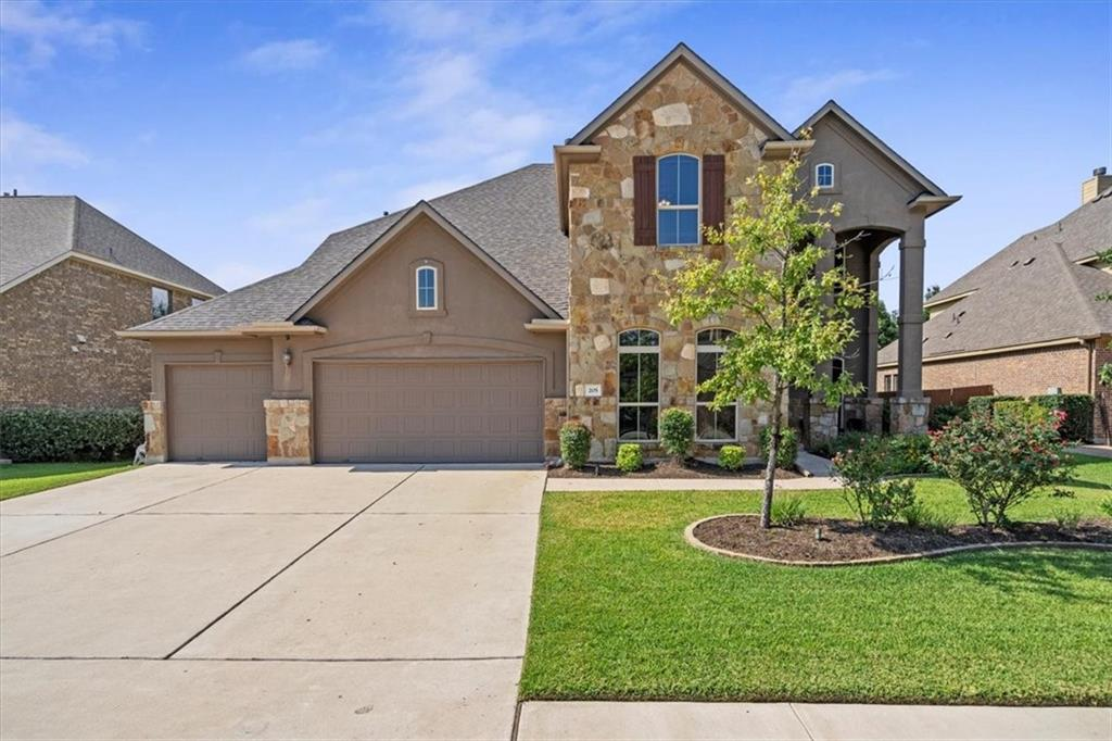 Spacious estate in premier Ranch at Brushy Creek neighborhood! Dramatic entryway with soaring ceilings and hand-scraped wood flooring leading into an open concept kitchen. Single level kitchen island is perfect for entertaining or holiday baking projects. Kitchen also features a walk-in pantry, built-in desk, and extensive cabinets and storage. Primary suite will truly impress, with walk-through shower, focal point garden tub, large separate vanities, linen closet, and dual walk-in closets. Primary bedroom has plenty of room for large furniture and a sitting area, with door leading to backyard retreat. Host beloved guests with two bedrooms and two full bathrooms downstairs, or use second bedroom as an office. Four additional bedrooms, game room, and media room upstairs give plenty of space for craft room and private relaxation. Both Jack-and-Jill type bathrooms upstairs have granite counters and separate vanities. Extensive landscaping and extended patio in backyard provide a peaceful welcome after a long day. Smart sprinkler system connects to Texas A&M weather tracking to adjust watering according to rainfall received. New roof in 2021, dishwasher replaced 2020, smart garage door opener controlled by app, Ring doorbell camera tied to wired security system, and spray foam insulation in attic for energy efficiency. Close to major shopping area with premier restaurants and Costco, approximately 6 miles from new Apple campus, 5 miles to SH-45 toll road, 20 minutes to Domain. And of course, those  coveted Round Rock schools: Patsy Sommer ES, Cedar Valley MS, Round Rock HS. You'll love living in Cedar Park's premier neighborhood!