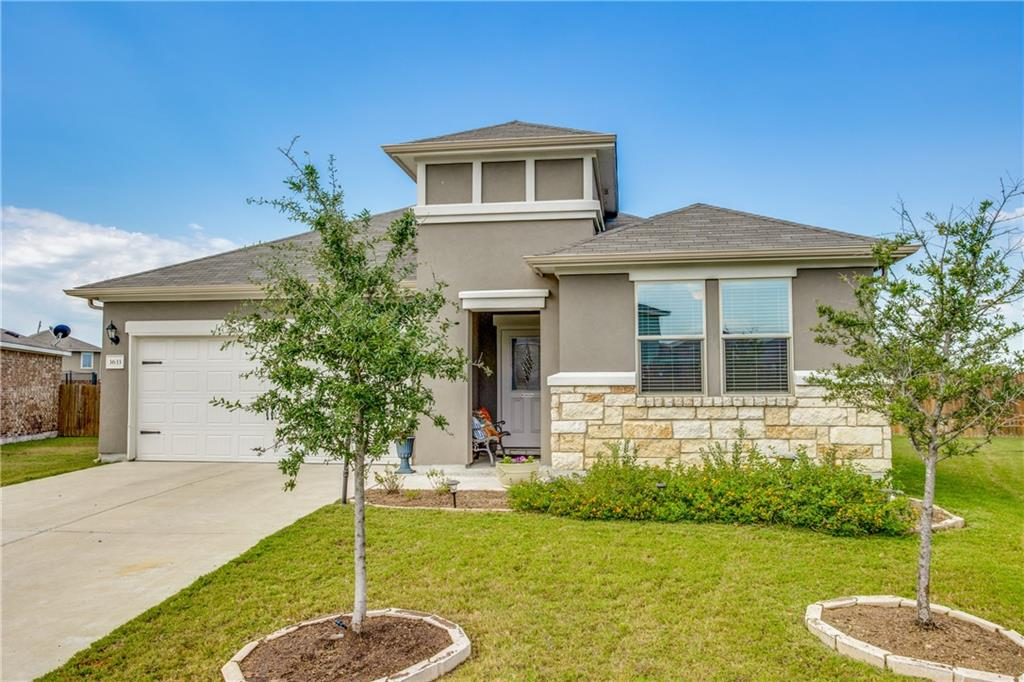 """OPEN HOUSE Sunday  10/1721-- 1:00-3:00 PM-. Is that a """"NEW HOME"""" I smell? This home looks, feels, and smells brand new. Just steps from the Lake Pflugerville hike and bike trail in the coveted Hidden Lake community. The community pool is also just a block away. Watch the Beautiful sunsets in this oasis enormous backyard ~Large pie shaped lot with privacy- NO neighbors behind & backs to a quiet street~ Lush landscaping and 15 trees surround three outdoor living spaces. Its like watching the beautiful sunset out in the country with no neighbors. Inside, the open kitchen/living """"great room"""" centers around an enormous 10 ft quartz island. Enjoy entertaining friends and family surrounded by expansive counters, scores of cabinets, and a huge walk-in pantry. Gaze out upon your backyard oasis from your spacious owners retreat - featuring a walk-in shower, double quartz vanity, and walk in large closet & large linen closet. On the opposite side of the home from the Owners suite are 3 spacious guest bedrooms and a full bath. Adjacent to the entry foyer is a half bath.  The entire home (other than bedrooms) has 18 inch designer tile flooring and recessed can lighting."""
