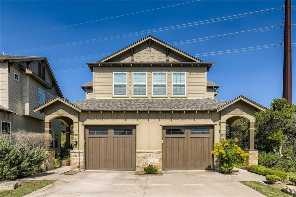 Modern, 3 bedroom, 2 bathroom condo with ability to walk to 4 parks, 2 lakes and motorsports-friendly dock. At Mansfield Dam State Park (annual pass available), enjoy walking, hiking, swimming, paddleboarding, scuba diving, snorkeling and/or sunbathing on the rocks at Lake Travis. Order a boat or jetski(s) to meet you and your friends/family at the dock. Drive a kayak to the Jessica Hollis Park on the Lake Austin side of the Dam (or walk there for some exercise and adventure; down path just outside the gate, to the left). Discover the free Fritz Hughes Park with basketball court, and access to Lake Austin (also walkable). Children can enjoy playgrounds at both the Mansfield Dam State Park and Fritz Hughes Park. A COVID-friendly escape for yourself, family and friends. This modern condo plays above its weight class, with upgrades and amenities. Make this your primary home, weekend getaway condo, or an out-of-towner's Austin retreat. Potential alternative to high rise living. Keyless access, bike storage hooks. Customized dart board, bunk beds, kitchen table with ping pong and air hockey conversions negotiable. Attached fenced yard. Expanded parking (one garage spot, 1-2 cars in driveway, and access to shared visitor). View of woodlands out back porch and from master bedroom. In Water District 17 (not on Austin City water). Commander's Point Marina is in the local area. This property can be your starting point to Steiner Ranch, Lakeway, the Bee Cave Galleria Mall, Hill Country, Wine Country and Downtown Austin. Well utilized space layout. Art in property not part of listing.