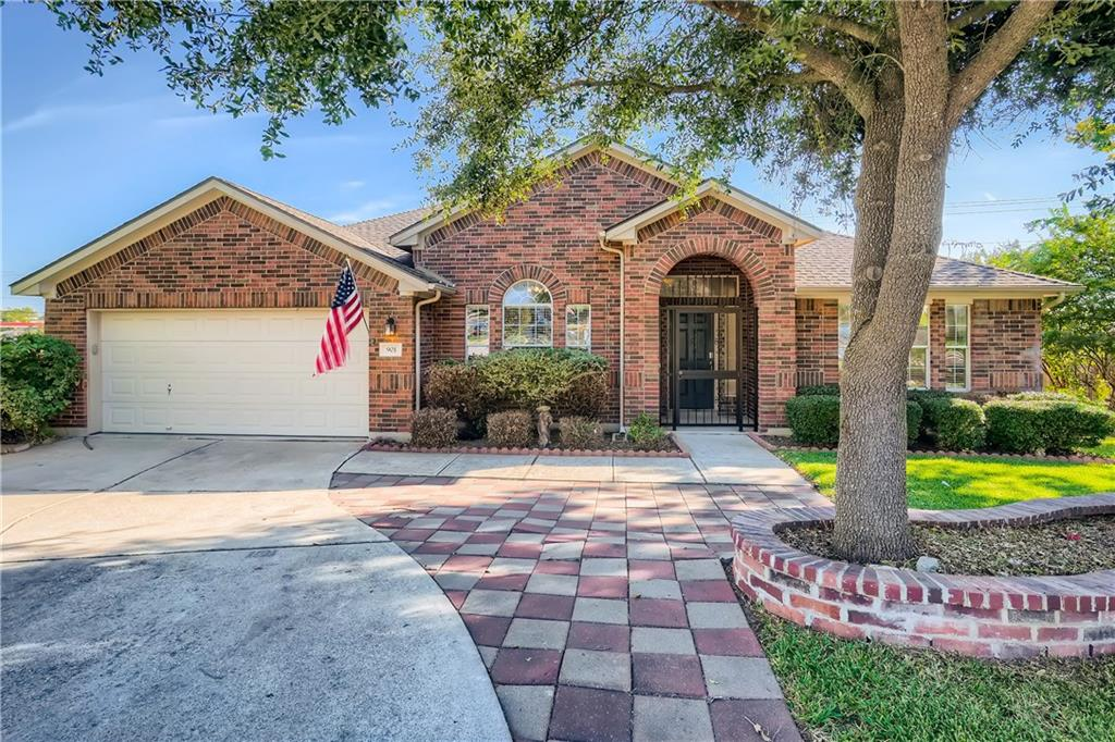 Don't miss your chance to own this beautiful 4 bedroom, 2 bathroom home on a cul-de-sac in the coveted Crystal Falls community! Pull up to your new brick-front home and appreciate the gated front entry, attached garage, and manicured front yard. Upon entry, let the polished tile flooring take you past a great room, through curved archways, and into the open concept living area with vaulted ceilings and a fireplace. Enjoy cooking for your loved ones in the charming kitchen, readied with ample counter space, tile backsplash, stainless steel GE appliances, and a long breakfast bar. The eat-in dining area opens up to the fully-fenced backyard with a covered raised porch. Feel at home in your primary suite with steep vaulted ceilings, excellent sunlight, an expansive closet with built-ins, and an en suite bathroom featuring a dual sink vanity, a private powder room, a garden-style soaking tub, and a separate shower. This home is situated close to shops, restaurants, schools, Crystal Falls Golf Club, and has easy access to Hwy 183!