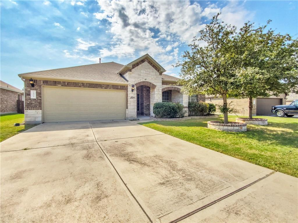 Built in 2013, this Leander one-story home offers a patio, granite countertops, and a two-car garage.