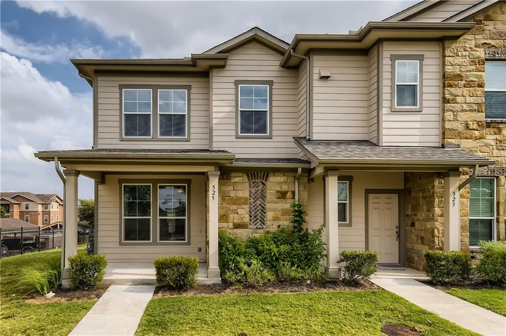Welcome home to this beautiful 3 bedroom, 2.5 bathroom townhome on a corner lot in the desirable Carrington Court community! Fall in love with the open floor plan, sleek modern tile, and charming archways between rooms. Cook for loved ones in your lavish kitchen, equipped with granite countertops, a gas stovetop, and dark cabinetry. Retreat to the privacy of a main floor primary suite with an oversized closet and an en suite bathroom featuring a dual sink vanity, a separate powder room, a soaking tub, and a separate tiled shower. Gather upstairs in the generously sized bonus room, and find the additional bedrooms with ample storage and large windows. This home is situated close to shops, schools, restaurants, Gilleland Creek, and Swenson Park!