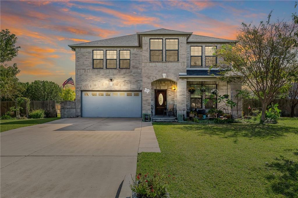 When opportunity knocks...you should open the door!  You do not want to miss this beautiful 4br/2.5 ba house on a generous 0.38 acres in gorgeous Round Rock.  This house offers so much!  Your beautifully manicured yard will greet you upon arrival after pulling into your 60' long drive, so there is plenty of parking for everyone!  On the main level, you will find a dedicated office space, formal dining or flex space, a generously sized living room, and a kitchen with plenty of cabinets and countertop space for all your entertaining. Don't forget to check out the pantry....it's oversized!  In the garage, you will continue to find storage options galore.  All of the bedrooms are waiting for you upstairs.  The primary bedroom is very large with plenty of space for a king-size bed, exercise equipment, or sitting area.  Enjoy the separate dual vanities in the primary bath along with TWO closets!  The other 3 bedrooms do not disappoint either. You will find tons of space for friends, family, or guests. And, with new carpet and flooring, settling in will be easy!  Whether you enjoy sitting on the front patio or you're a backyard dweller, you will have plenty of space for either.  There is so much space in this yard!  Tons of room for a pool, cabana, or both!  There is full irrigation in the yard to keep everything nice and green during our Texas summers.  And did I mention the location??  You're minutes away from the 45 and 130 Toll to keep your commute fast!  Only 10 minutes away from Kalahari and the Dell Diamond, 20 minutes away from the Round Rock Premium Outlets, approx 30 minutes away from downtown Austin, and 32 minutes away from the Circuit of the Americas.  So don't miss out!  Schedule your private showing today!
