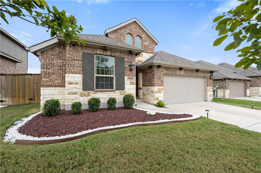 Beautifully maintained one story home located in the highly desirable community of Paloma Lake in Round Rock.  Enter into the home with a bedroom and separate office off the main hallway.  Hallway leads into open floor plan with dining room, living room, and kitchen areas.  Kitchen has a center island, stainless steel appliances, granite countertops, dark brown cabinets, and a breakfast area.  Flooring consists of wood floors in high traffic areas and office, tile in wet areas, and carpet in bedrooms.  Spacious primary bedroom opens to primary bathroom with dual vanities, garden tub, and separate standing shower.  Back patio has space for quiet entertaining and opens to a generous sized backyard with plenty of space for kids and/or pets.  This great home is located between I-35 and the 130 toll road, convenient to many local businesses!
