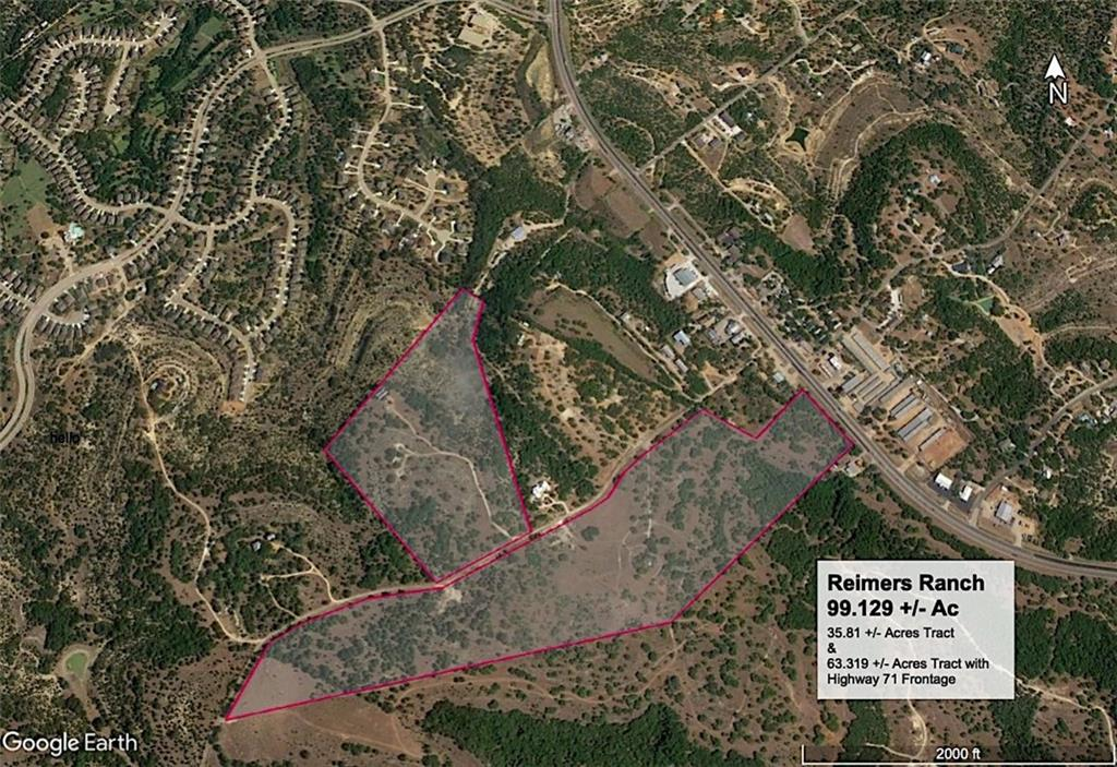 99.129 acres of level hilltop with 542' of Highway 71 frontage. Property is bisected by 120' right of way tract providing access to 230 acres Lake Travis ISD  future campus. Property includes three homes with each home having it's own well. Purchase of property includes 85 acre feet, Raw Water Reservation Contract with LCRA.Restrictions: Unknown
