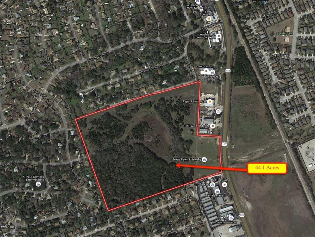 44 Acres prime Residential development land in the heart of fast growing Leander.  Property is between Osage and Crystal Falls, 2 of the main arteries in Leander.  Property has all utilities at the site.  Property includes 3 acres of Commercial zoned land fronting Highway 183.  This land can be rezoned to residential if needed.