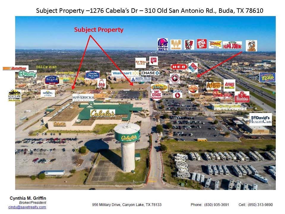 Restrictions: Yes 1276 Cabela's Dr. The NEC of Cabela's Dr and Old San Antonio Rd. Outparcel to Hampton Inn and Suites. 1 of 2 left.....CORNER COMMERCIAL LOTS IN BUDA, vey fast-growing south Austin community. These two CORNER outparcels are strategically located in the heart of the BUDA retail triangle consisting of Walmart, Cabela's and HEB. They are fully entitled with off-site retention already in & functioning with utilities available at the street. Additionally, they are adjacent to 600 + new luxury apt units.