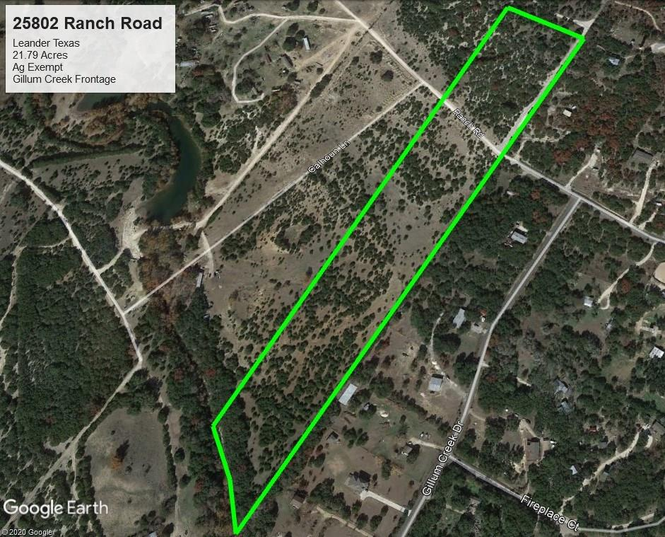 21.795 acres of stunning Hill Country views. Property looks over th Balcones Canyonlands National Wildlife Refuge and includes Gillum Creek frontage and access. Many beautifu home sites. Would be well suited for horses or other livestock. Deer and other wildlife abundant. Land presently has agricultural exemption and no restrictions.Partially fenced. Private paved road to highest elevation that lead to a breathtaking view and a great home site. Almost 200 feet in elevation change between hilltop & creek.Restrictions: Unknown