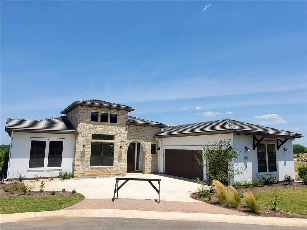 Our largest single story villa features 3 bedrooms, 3 1/2 baths, breakfast nook, an office & a golf cart garage in our Tuscan Village 55+ active adult community in the beautiful Hill Country of Horseshoe Bay. Lock & Leave lifestyle. Construction on the clubhouse & pool are underway! The dog park, community garden & walking trails are coming soon! This home features wood look tile floors, Bosch appliances, gas cook top, granite counters & a stone fireplace. Includes 1 year prepaid Tuscan Village HOA dues.Restrictions: Yes  Sprinkler Sys:Yes