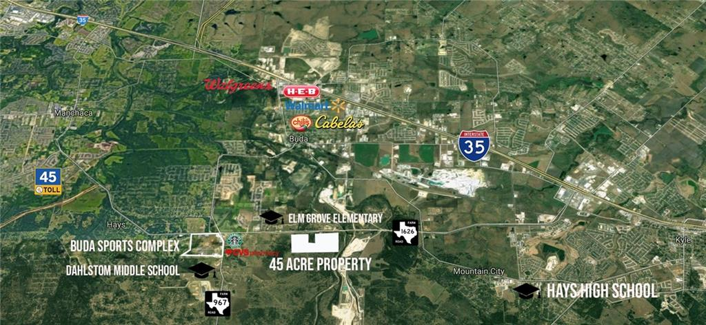 Property is approximately 45+/- acres in ETJ of Buda but the City is willing to work with Commercial or Residential / Mixed Use / Multifamily Development for this property. Over 1750 feet of Highway Frontage.  Property is flat/level, mostly cleared with very few heritage trees on it and no flood plain. Call Agent