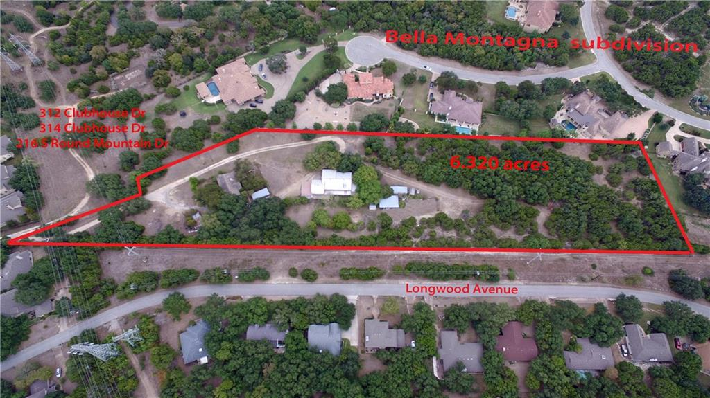 Hidden GEM in Lakeway - OVER 6 ACRES!  The listing consists of 314 Clubhouse Dr. (4.87 acres), 312 Clubhouse Dr. (1.2 acres), and 216 S. Round Mountain Dr. (.29 acres). All lots are contiguous and are being sold as one. Backs up to coveted Bella Montagna subdivision.  Lots are in the Lakeway ETJ so no restrictions!  No value placed on the two homes; could be used to stay in while your dream home is constructed; could also be developed into a high value subdivision!  Possible developmental plan available.