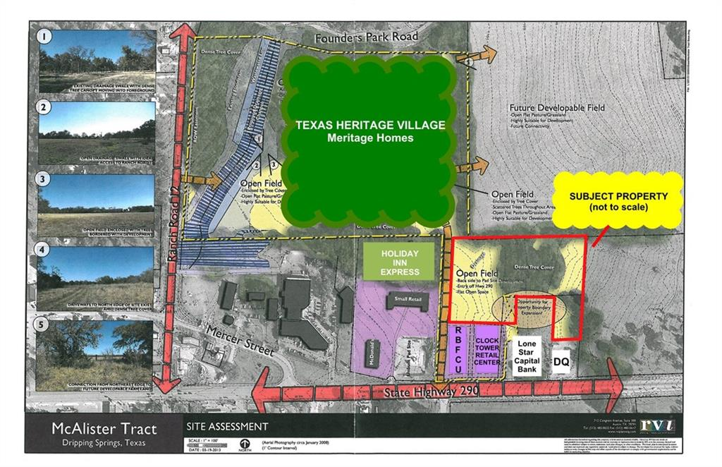 6.604 Acres of Retail/Office, Hotel location on water and waste water lines in the Heart of Dripping Springs business district. This tract is the last of the larger development tracts, zoned cs. Surrounded by residential and commercial developmentsRestrictions: Yes