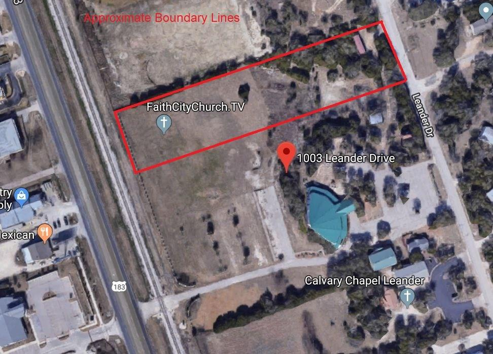 3.21 acres with approx. 200 ft. frontage on US 183. Located on the west side of Leander Drive between Crystal Falls Parkway & East Sonny Drive. Subject site is highly visible from US 183; however access is currently available from Leander Drive only. Zoned HC4-D - Heavy Commercial.
