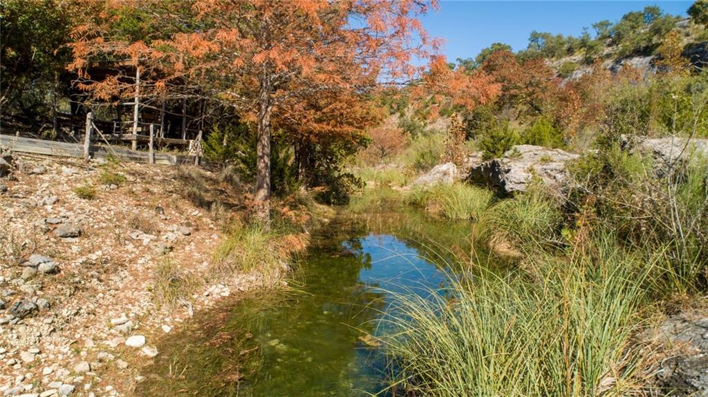 Live-water Ranch in Hays County.  25-30 acre carve out from the existing 75 acre Hawks Shadow Winery. Beautiful bottom land, year-round creek and limestone bluffs. Perfect gentlemans ranch in the hill country surrounding the Drippings Springs area. 1,000 sq.ft. guest home/cabin with open floor plan to use while you build your dream destination home. Acreage is approximate and negotiable at +/- 25-30 acres. Fenced on three sides, private automatic gate, electricity, well and septic on the property.Restrictions: Yes