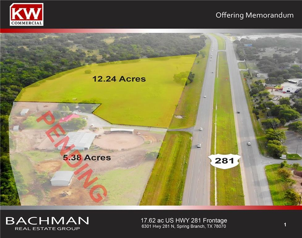 12.24 acres with 1,347' frontage on US Hwy 281 in Spring Branch Texas. Central water is in place along 281 frontage. Approximately 3.5 acres is located in the 100 yr floodplain leaving +/- 8.5 net acres for development. Will need TXDOT approval for new entrance. High visibility and traffic count location is ideal for development of retail, office park, multi-family or RV park/storage.Restrictions: Unknown
