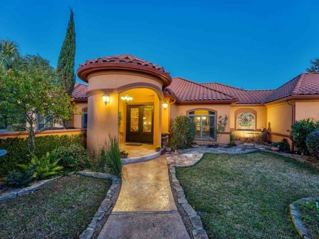 This Custom Home in Siena Creek, a gated private community in the heart of Horseshoe Bay, sits on .85ac w/beautiful trees & tranquil views of Pecan Creek. Single level living with a large living area, dining, butler's pantry, breakfast area, kitchen w/granite, gas range & all the extras plus a spacious 3 car garage. Spectacular backyard faces east with large trees, grassy areas, outdoor fireplace & room for a pool. Original owners, immaculate and move in ready. Ask about Special The Club @HSBay incentivesRestrictions: Yes