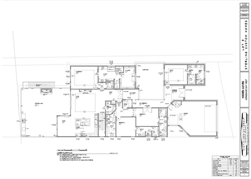 Builder will break ground in September 2020.  The 1-story home presents with an iron gate entrance that leads to the separate guest Casita & Courtyard via a covered Breezeway to the main entrance to the home.  A wall of windows and glass doors draws you to the outdoor view & living with a fireplace, grill, large covered deck & stairs down to the double boat dock level with storage.  The second set of interior, carpeted a/c controlled stairs are accessed from the main level lead to the double boat dock.FEMA - Unknown Guest Accommodations: Yes Restrictions: Yes