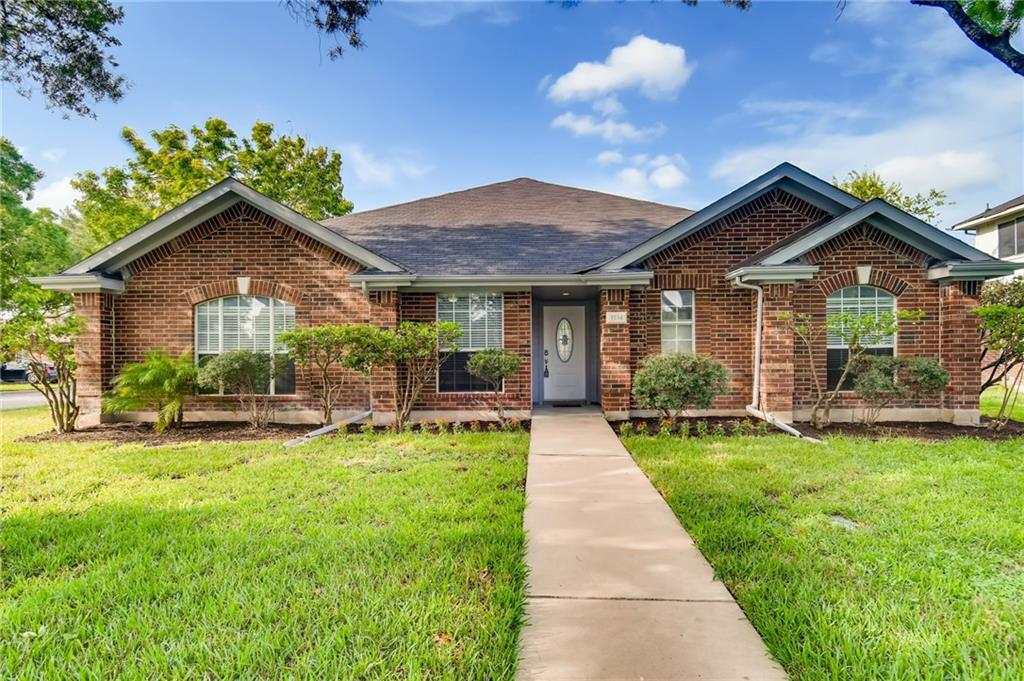 Beautiful fully remodeled one-story brick home in the heart of popular Windermere neighborhood in Pflugerville. Recent updates include luxury laminate flooring, lighting, granite countertops, Smart AC & sprinklers, & jetted jacuzzi tub in guest bath. The living room opens to the large kitchen & formal dining. The main ensuite bath features custom walk-in tiled shower w/Moen & Pfister double shower heads & faucets. Enjoy the large backyard for entertaining! New roof & water heater!
