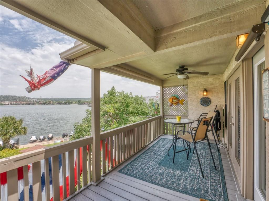 Absolutely stunning updated 3rd level 2 bedroom, 2 bath condo in gated Island Village on big open water frontage of Lake LBJ. Located near the resort amenity rich area of Horseshoe Bay, this property is within walking distance of the Yacht Club, Spa, Marina, Waterfront Restaurant, Whitewater 18 hole grass putting course with 360 Sport Club, and the Resort Hotel. Enjoy panoramic east facing views of the lake and hill country beyond. Sold furnished with a few exceptions.Guest Accommodations: Yes Restrictions: Yes